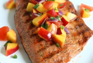 grilled-salmon tomato peach salsa