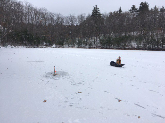 Ice fishing for brook trout on otter pond 4 in standish for Ice fishing maine